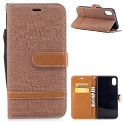 Jeans Cowboy Denim Leather Wallet Case for iPhone XS / X / 10 (5.8 inch) - Brown