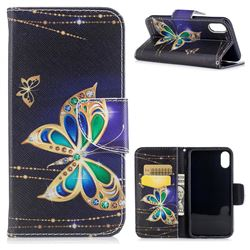 Golden Shining Butterfly Leather Wallet Case for iPhone XS / X / 10 (5.8 inch)