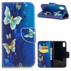 Golden Butterflies Leather Wallet Case for iPhone XS / X / 10 (5.8 inch)