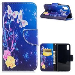 Yellow Flower Butterfly Leather Wallet Case for iPhone XS / X / 10 (5.8 inch)