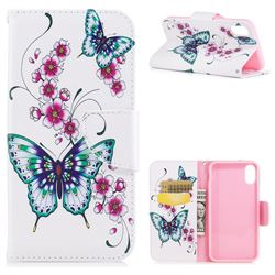 Peach Butterflies Leather Wallet Case for iPhone XS / X / 10 (5.8 inch)