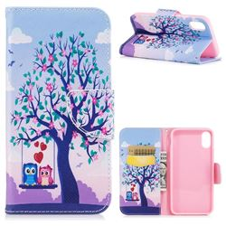 Tree and Owls Leather Wallet Case for iPhone XS / X / 10 (5.8 inch)