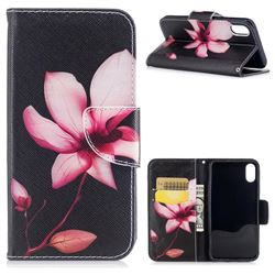 Lotus Flower Leather Wallet Case for iPhone XS / X / 10 (5.8 inch)
