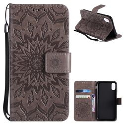 Embossing Sunflower Leather Wallet Case for iPhone XS / X / 10 (5.8 inch) - Gray