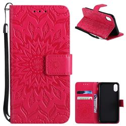 Embossing Sunflower Leather Wallet Case for iPhone XS / X / 10 (5.8 inch) - Red