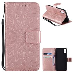 Embossing Sunflower Leather Wallet Case for iPhone XS / X / 10 (5.8 inch) - Rose Gold