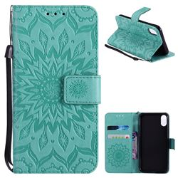 Embossing Sunflower Leather Wallet Case for iPhone XS / X / 10 (5.8 inch) - Green