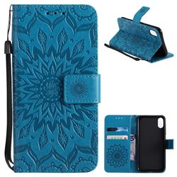 Embossing Sunflower Leather Wallet Case for iPhone XS / X / 10 (5.8 inch) - Blue