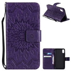 Embossing Sunflower Leather Wallet Case for iPhone XS / X / 10 (5.8 inch) - Purple