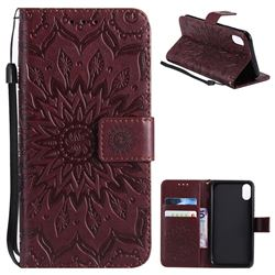 Embossing Sunflower Leather Wallet Case for iPhone XS / X / 10 (5.8 inch) - Brown