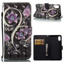 Peacock Flower 3D Painted Leather Wallet Case for iPhone XS / X / 10 (5.8 inch)