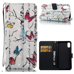 Colored Butterflies 3D Painted Leather Wallet Case for iPhone XS / X / 10 (5.8 inch)