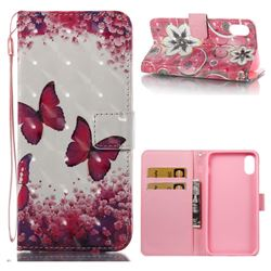 Rose Butterfly 3D Painted Leather Wallet Case for iPhone XS / X / 10 (5.8 inch)