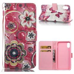 Tulip Flower 3D Painted Leather Wallet Case for iPhone XS / X / 10 (5.8 inch)