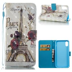 Flower Eiffel Tower 3D Painted Leather Wallet Case for iPhone XS / X / 10 (5.8 inch)