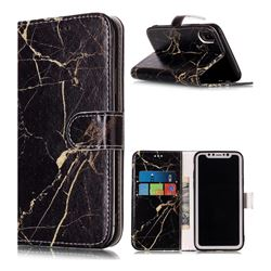 Black Gold Marble PU Leather Wallet Case for iPhone XS / X / 10 (5.8 inch)