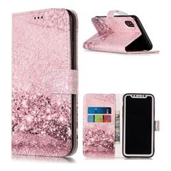 Glittering Rose Gold PU Leather Wallet Case for iPhone XS / X / 10 (5.8 inch)