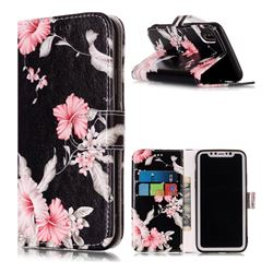 Azalea Flower PU Leather Wallet Case for iPhone XS / X / 10 (5.8 inch)