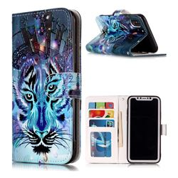 Ice Wolf 3D Relief Oil PU Leather Wallet Case for iPhone XS / X / 10 (5.8 inch)