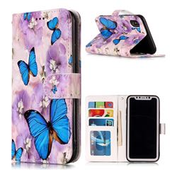 Purple Flowers Butterfly 3D Relief Oil PU Leather Wallet Case for iPhone XS / X / 10 (5.8 inch)