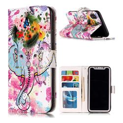 Flower Elephant 3D Relief Oil PU Leather Wallet Case for iPhone XS / X / 10 (5.8 inch)