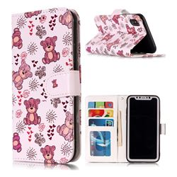 Cute Bear 3D Relief Oil PU Leather Wallet Case for iPhone XS / X / 10 (5.8 inch)