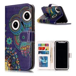 Folk Owl 3D Relief Oil PU Leather Wallet Case for iPhone XS / X / 10 (5.8 inch)