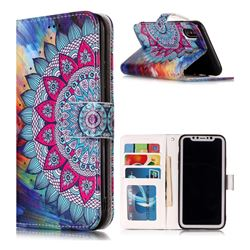 Mandala Flower 3D Relief Oil PU Leather Wallet Case for iPhone XS / X / 10 (5.8 inch)