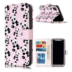 Cute Panda 3D Relief Oil PU Leather Wallet Case for iPhone XS / X / 10 (5.8 inch)