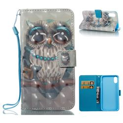 Sweet Gray Owl 3D Painted Leather Wallet Case for iPhone XS / X / 10 (5.8 inch)