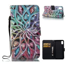 Spreading Flowers 3D Painted Leather Wallet Case for iPhone XS / X / 10 (5.8 inch)