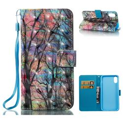 Color Tree 3D Painted Leather Wallet Case for iPhone XS / X / 10 (5.8 inch)