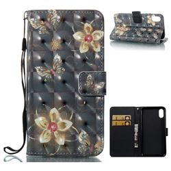 Golden Flower Butterfly 3D Painted Leather Wallet Case for iPhone XS / X / 10 (5.8 inch)