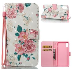 Chinese Rose 3D Painted Leather Wallet Case for iPhone XS / X / 10 (5.8 inch)