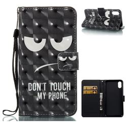 Do Not Touch My Phone 3D Painted Leather Wallet Case for iPhone XS / X / 10 (5.8 inch)