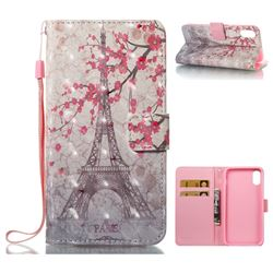 Plum Tower 3D Painted Leather Wallet Case for iPhone XS / X / 10 (5.8 inch)