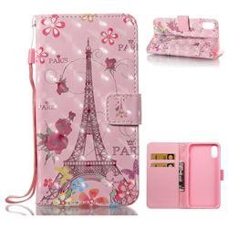 Butterfly Tower 3D Painted Leather Wallet Case for iPhone XS / X / 10 (5.8 inch)