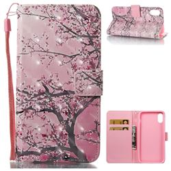 Cherry Tree 3D Painted Leather Wallet Case for iPhone XS / X / 10 (5.8 inch)