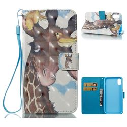 Birds Giraffe 3D Painted Leather Wallet Case for iPhone XS / X / 10 (5.8 inch)