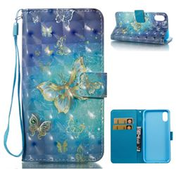 Gold Butterfly 3D Painted Leather Wallet Case for iPhone XS / X / 10 (5.8 inch)