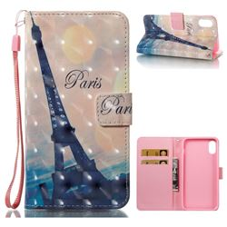 Leaning Eiffel Tower 3D Painted Leather Wallet Case for iPhone XS / X / 10 (5.8 inch)