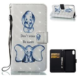 Be Happy Elephant 3D Painted Leather Wallet Case for iPhone XS / X / 10 (5.8 inch)
