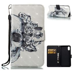Skull Flower 3D Painted Leather Wallet Case for iPhone XS / X / 10 (5.8 inch)