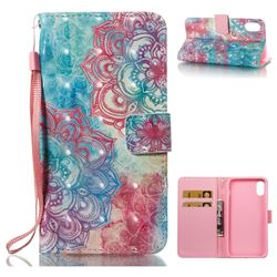 Fire Red Flower 3D Painted Leather Wallet Case for iPhone XS / X / 10 (5.8 inch)