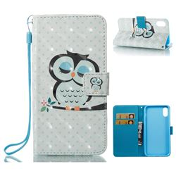 Sweet Owl 3D Painted Leather Wallet Case for iPhone XS / X / 10 (5.8 inch)