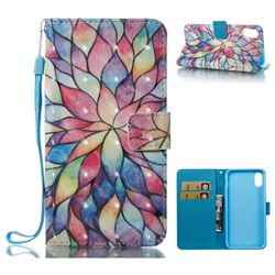 Colorful Lotus 3D Painted Leather Wallet Case for iPhone XS / X / 10 (5.8 inch)