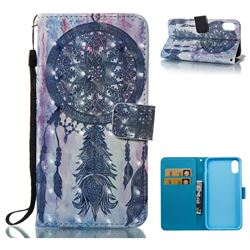 Black Campanula 3D Painted Leather Wallet Case for iPhone XS / X / 10 (5.8 inch)