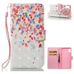 Colored Petals 3D Painted Leather Wallet Case for iPhone XS / X / 10 (5.8 inch)