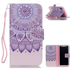 Purple Sunflower Leather Wallet Phone Case for iPhone XS / X / 10 (5.8 inch)