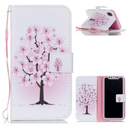 Peach Flower Leather Wallet Phone Case for iPhone XS / X / 10 (5.8 inch)